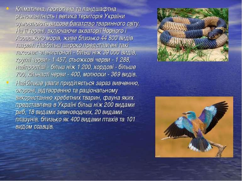 Кліматична, геологічна та ландшафтна різноманітність і велика територія Украї...