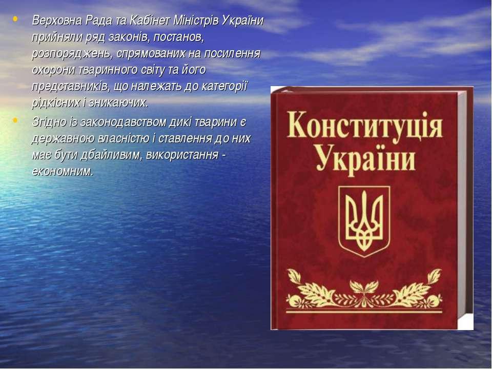 Верховна Рада та Кабінет Міністрів України прийняли ряд законів, постанов, ро...