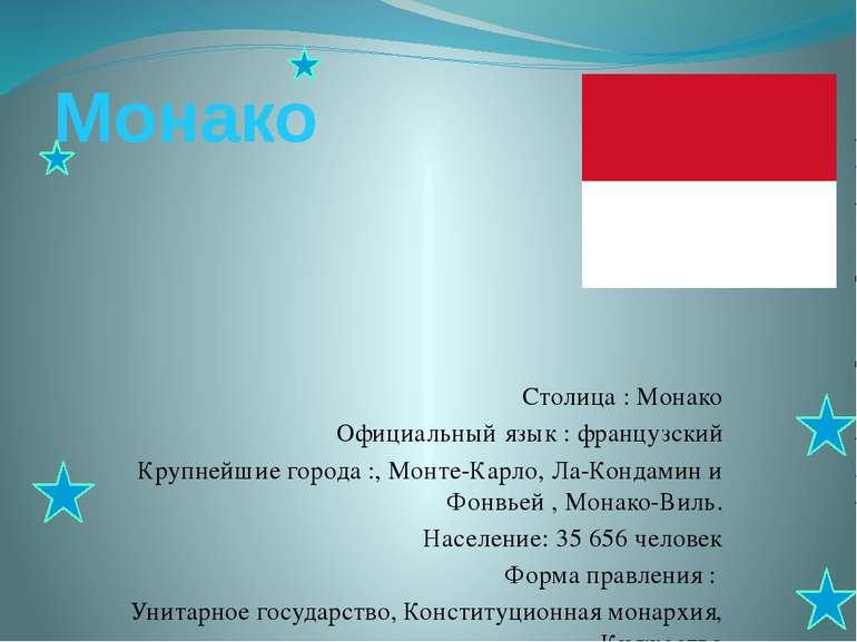 Монако Столица : Монако Официальный язык : французский Крупнейшие города :, М...