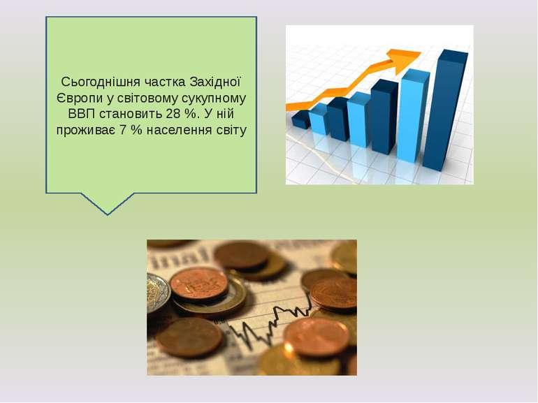 Сьогоднішня частка Західної Європи у світовому сукупному ВВП становить 28 %. ...