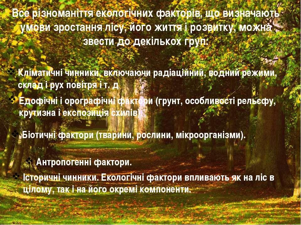 Все різноманіття екологічних факторів, що визначають умови зростання лісу, йо...