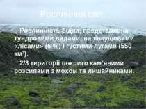 Рослинний світ: Рослинність бідна, представлена тундровими видами, напівкущов...