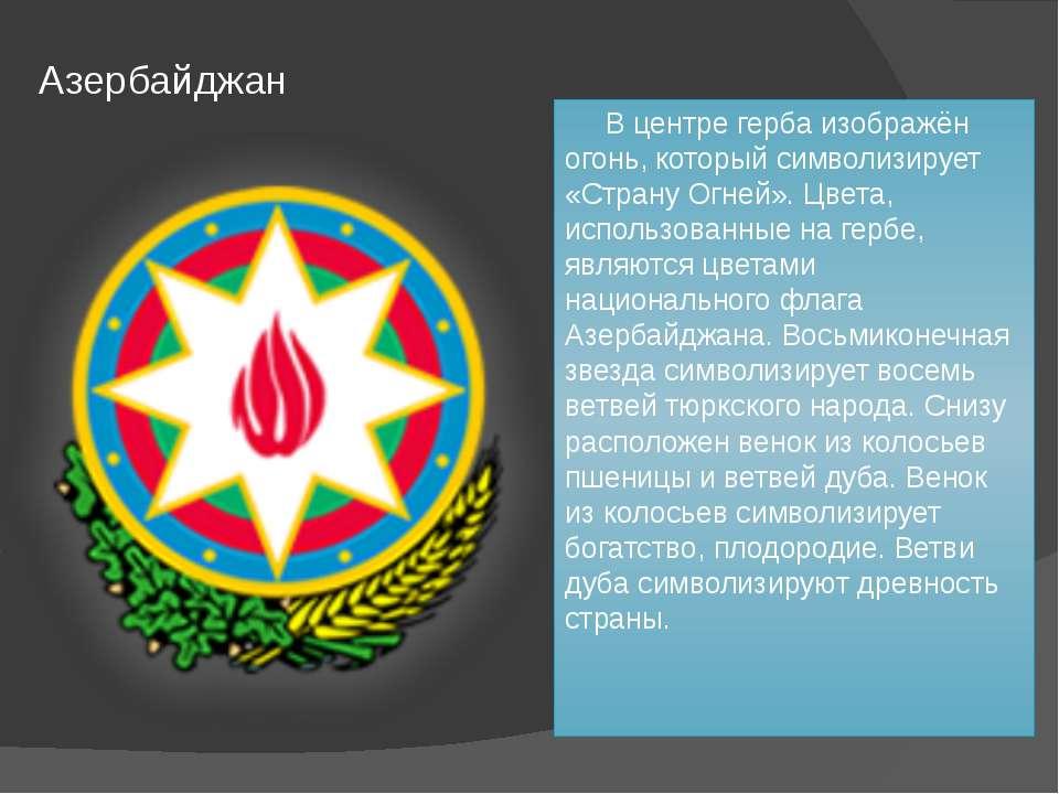 Азербайджан В центре герба изображён огонь, который символизирует «Страну Огн...