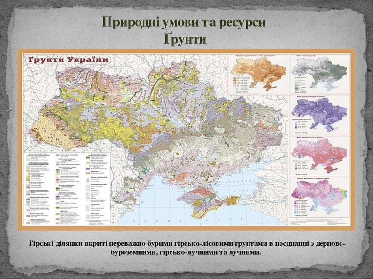 Гірські ділянки вкриті переважно бурими гірсько-лісовими ґрунтами в поєднанні...