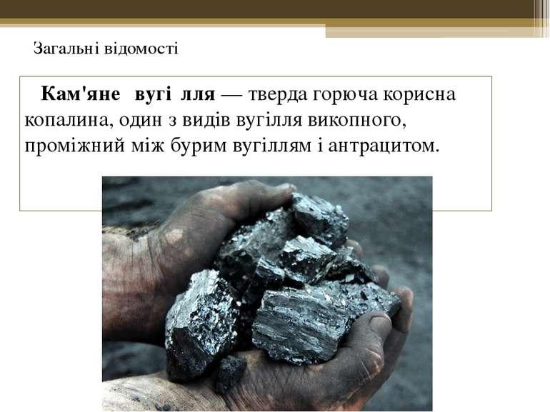 Кам'яне вугі лля— тверда горючакорисна копалина, один з видів вугіллявикоп...