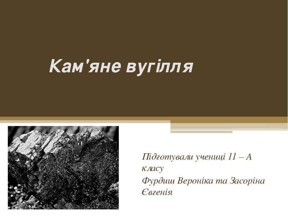 Кам'яне вугілля Підготували учениці 11 – А класу Фурдиш Вероніка та Засоріна ...