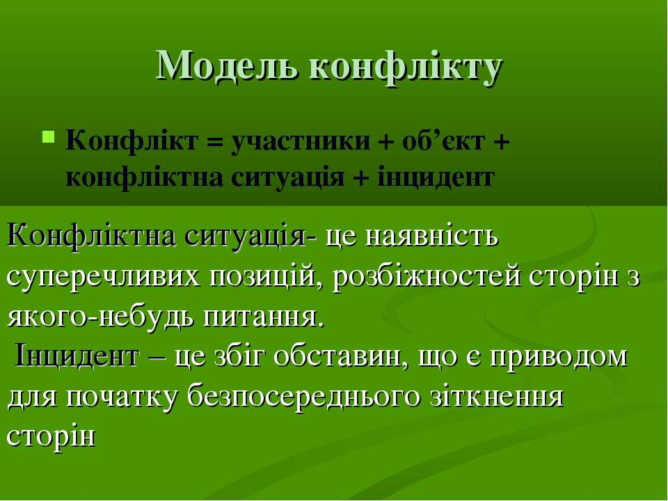 Модель конфлікту Конфлікт = участники + об'єкт + конфліктна ситуація + інциде...