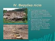 IV. Вирубка лісів Ліс поглинає атмосферне забруднення антропогенного походжен...