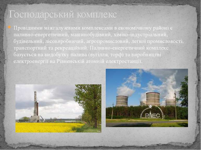 Провідними міжгалузевими комплексами в економічному районі є паливно-енергети...