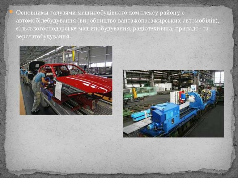 Основними галузями машинобудівного комплексу району є автомобілебудування (ви...
