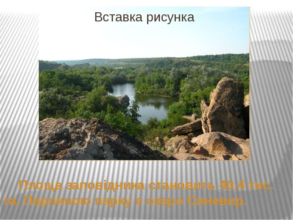 Площа заповідника становить 40,4 тис. га. Перлиною парку є озеро Синевир.