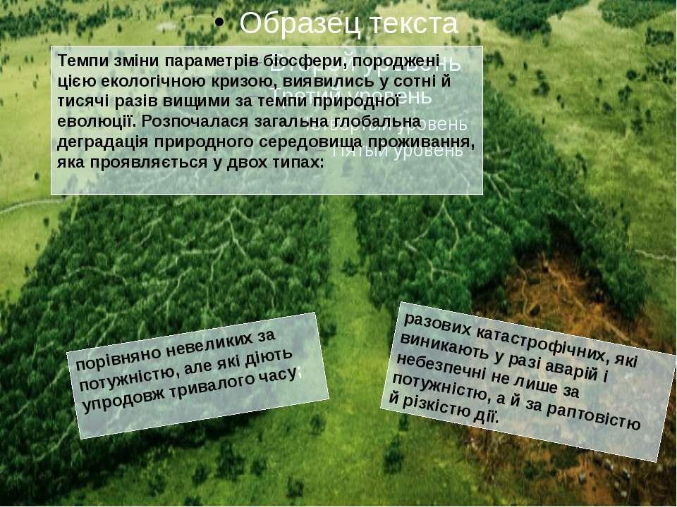 Темпи зміни параметрів біосфери, породжені цією екологічною кризою, виявили...