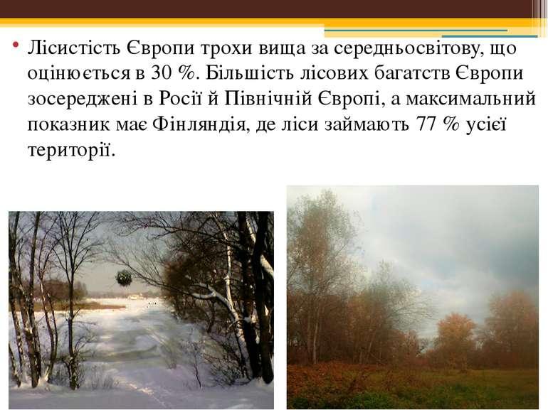 Лісистість Європи трохи вища за середньосвітову, що оцінюється в 30 %. Більші...