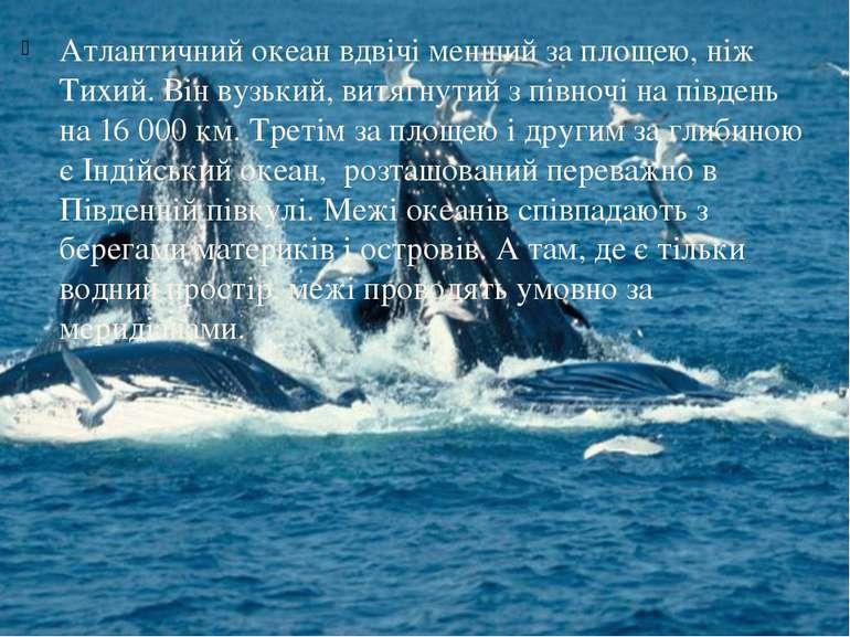 Атлантичний океан вдвічі менший за площею, ніж Тихий. Він вузький, витягнутий...