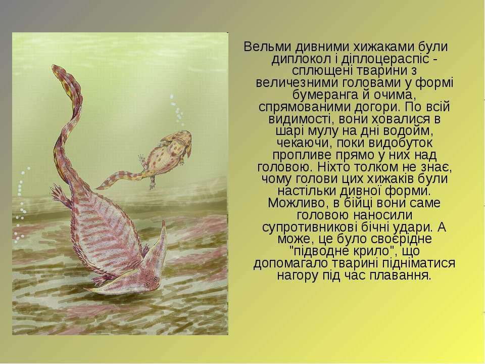 Вельми дивними хижаками були диплокол і діплоцераспіс - сплющені тварини з ве...