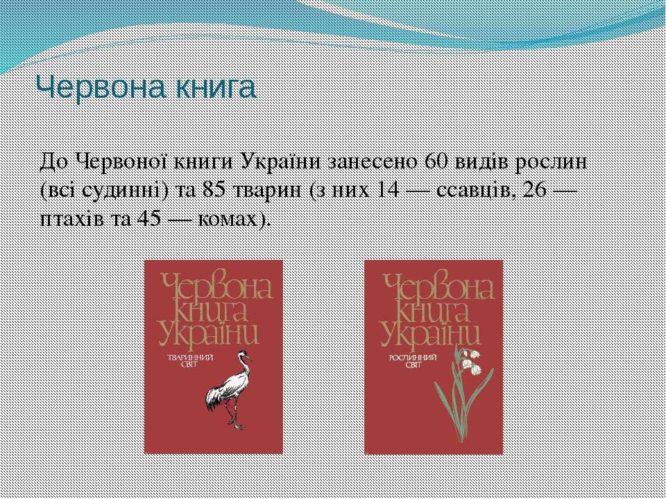 Червона книга До Червоної книги України занесено 60 видів рослин (всі судинні...