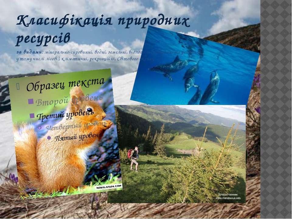 за видами: мінерально-сировинні, водні, земельні, біологічні (тваринні та рос...