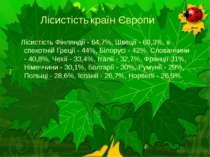 Лісистість країн Європи  Лісистість Фінляндії - 64,7%, Швеції - 60,3%, в спе...