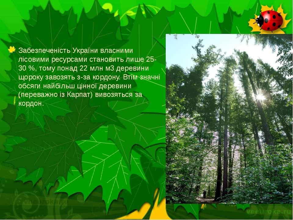 Забезпеченість України власними лісовими ресурсами становить лише 25-30 %, то...