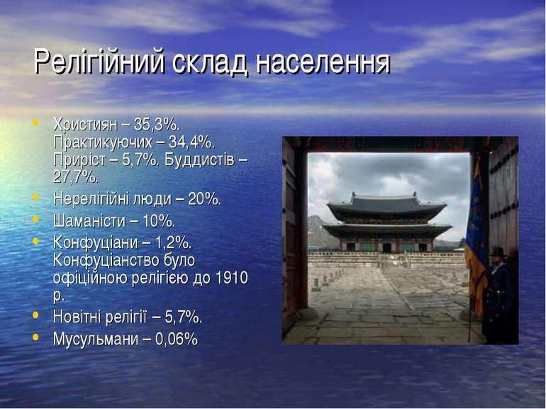 Релігійний склад населення Християн – 35,3%. Практикуючих – 34,4%. Приріст – ...
