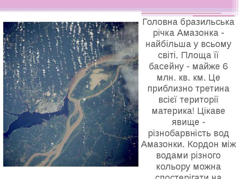 Головна бразильська річка Амазонка - найбільша у всьому світі. Площа її басей...