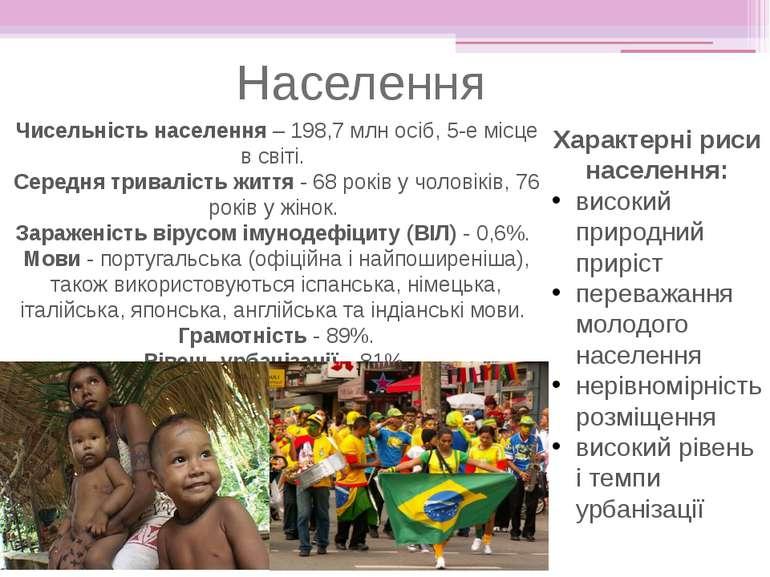 Чисельність населення – 198,7 млн осіб, 5-е місце в світі. Середня тривалість...