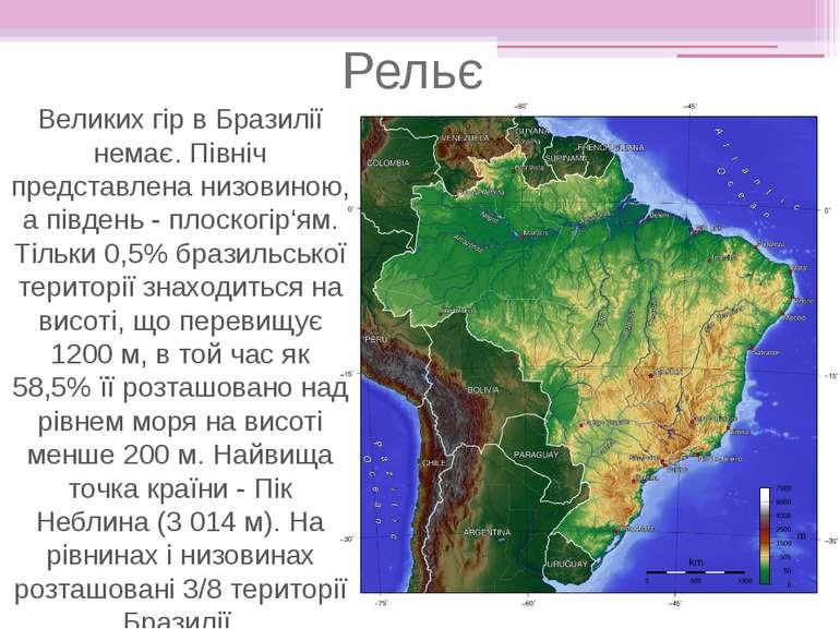 Рельєф Великих гір в Бразилії немає. Північ представлена низовиною, а південь...