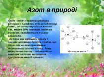 Азот в природі Азот - одне з найпоширеніших речовин у біосфері, вузької оболо...