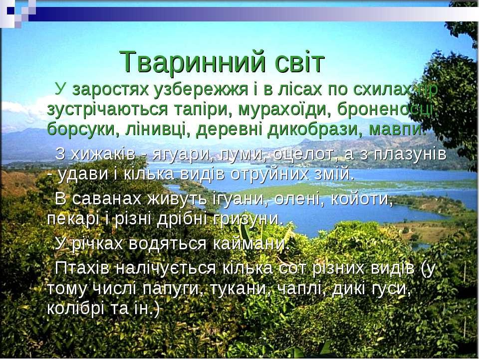 Тваринний світ У заростях узбережжя і в лісах по схилах гір зустрічаються тап...