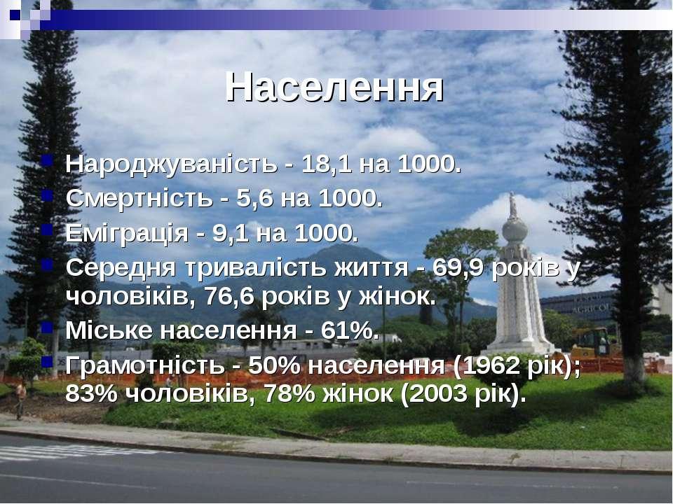 Населення Народжуваність - 18,1 на 1000. Смертність - 5,6 на 1000. Еміграція ...