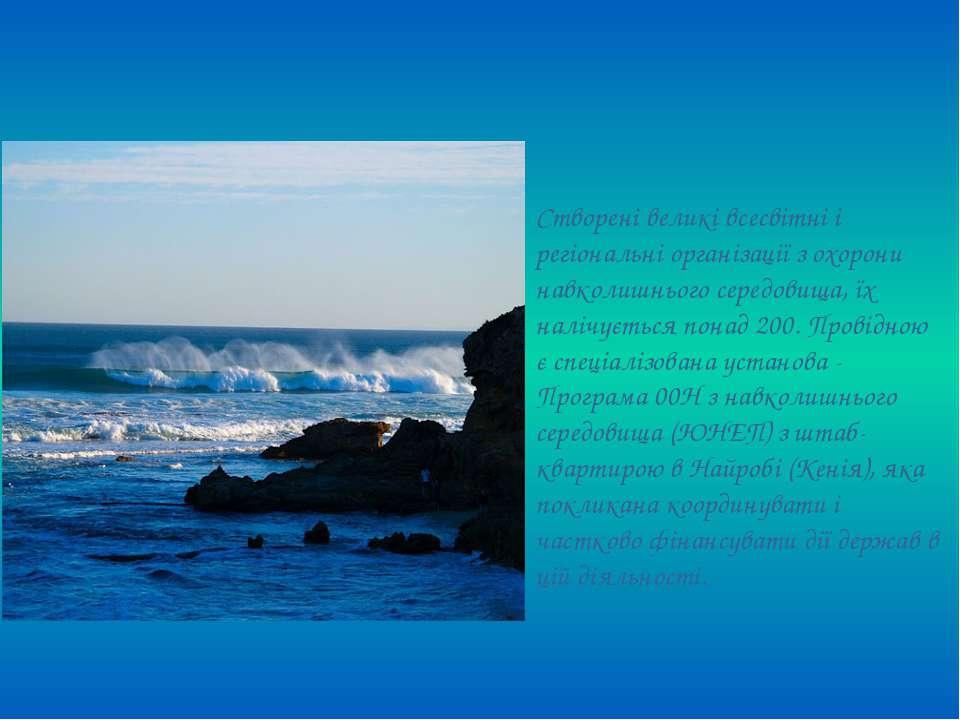 Створені великі всесвітні і регіональні організації з охорони навколишнього с...