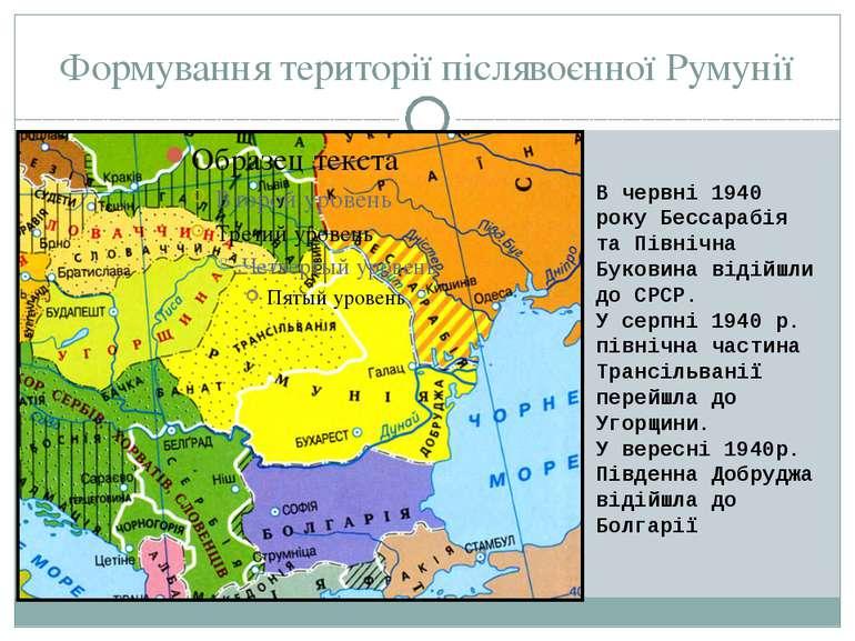 Формування території післявоєнної Румунії В червні 1940 року Бессарабія та Пі...