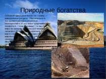Природные богатства Основное природное богатство страны — минеральные ресурсы...