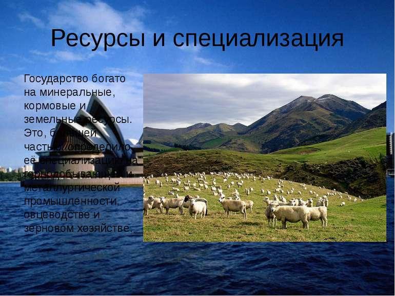 Ресурсы и специализация Государство богато на минеральные, кормовые и земельн...