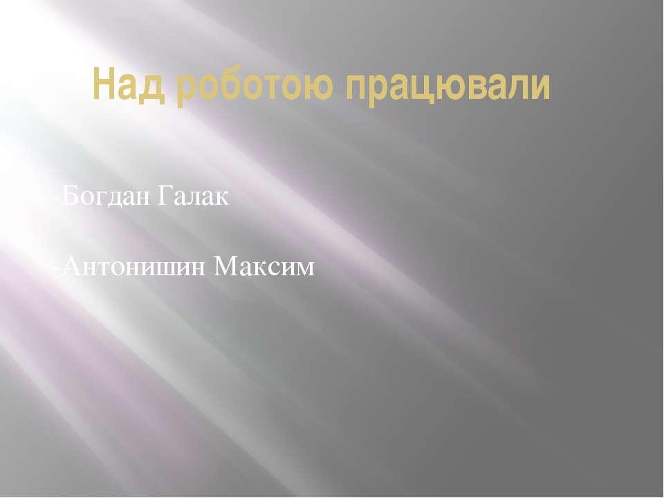 Над роботою працювали -Богдан Галак -Антонишин Максим