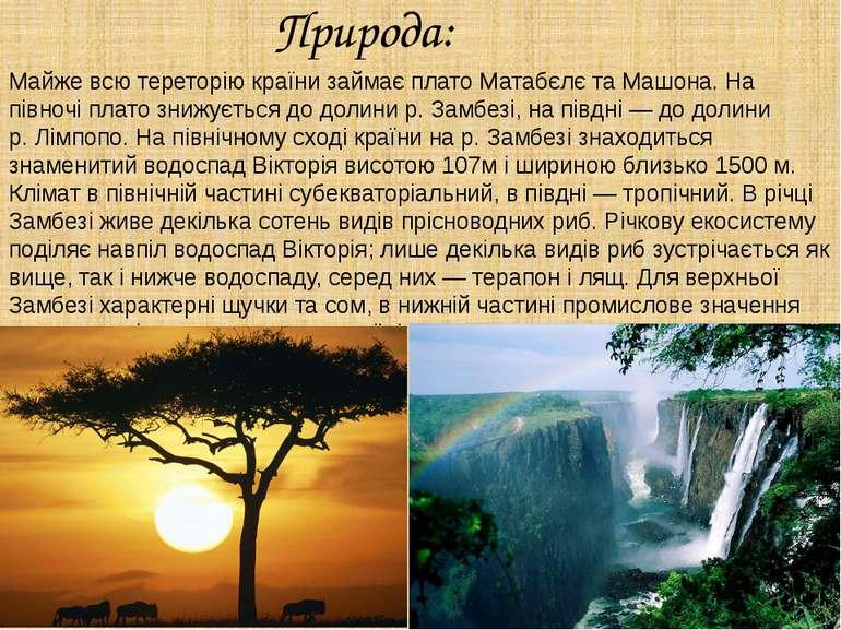 Природа: Майже всю тереторію країни займає платоМатабєлєтаМашона. На півно...