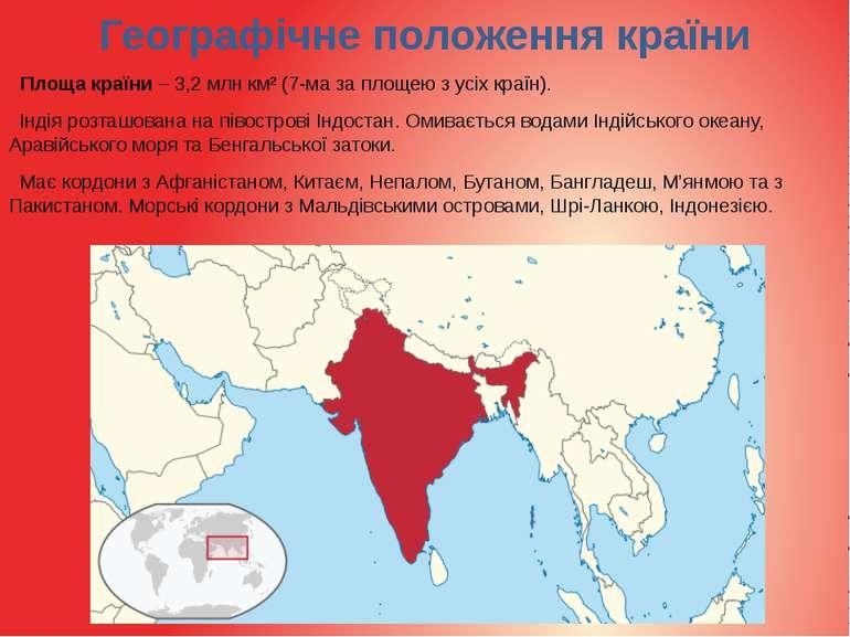 Географічне положення країни Площа країни – 3,2 млнкм² (7-ма за площею з усі...