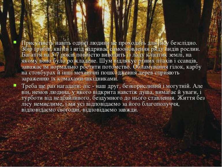 Присутність навіть однієї людини не проходить для лісу безслідно. Збір грибів...