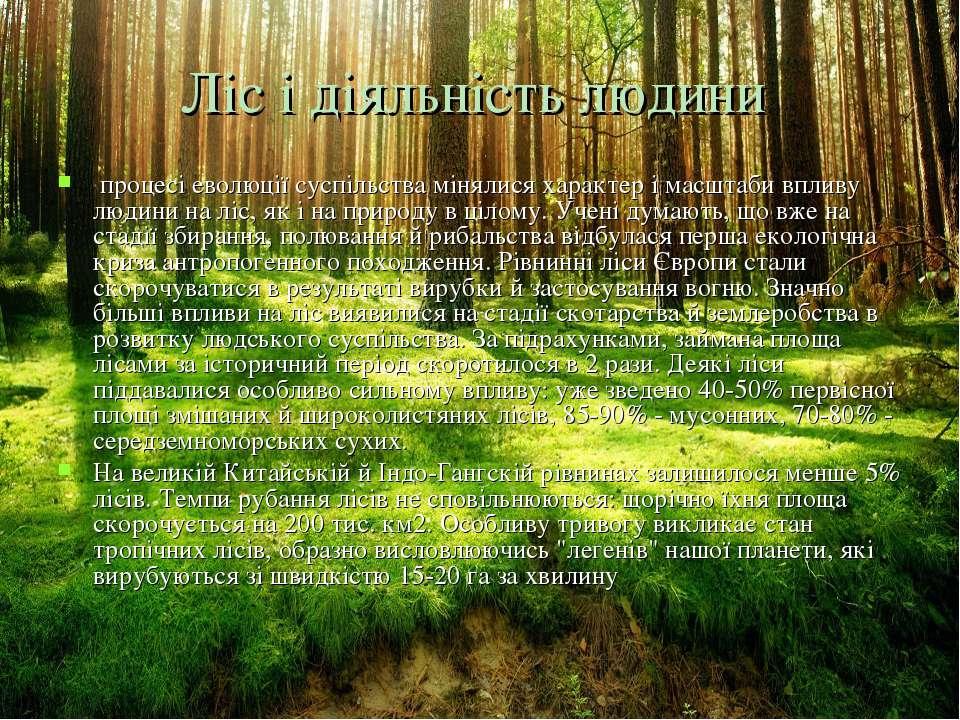 Ліс і діяльність людини процесі еволюції суспільства мінялися характер і мас...