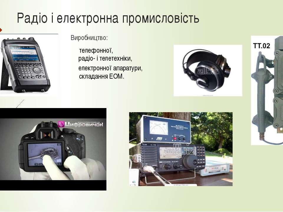 Радіо і електронна промисловість Виробництво: телефонної, радіо- і телетехнік...