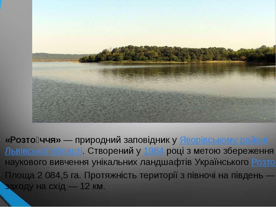 «Розто ччя»— природний заповідник уЯворівському районіЛьвівської області. ...