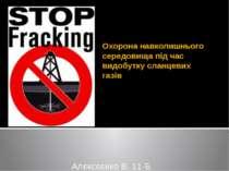 Охорона навколишнього середовища під час видобутку сланцевих газів Алєксєєнко...