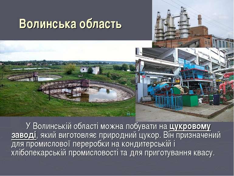 Волинська область У Волинській області можна побувати на цукровому заводі, як...