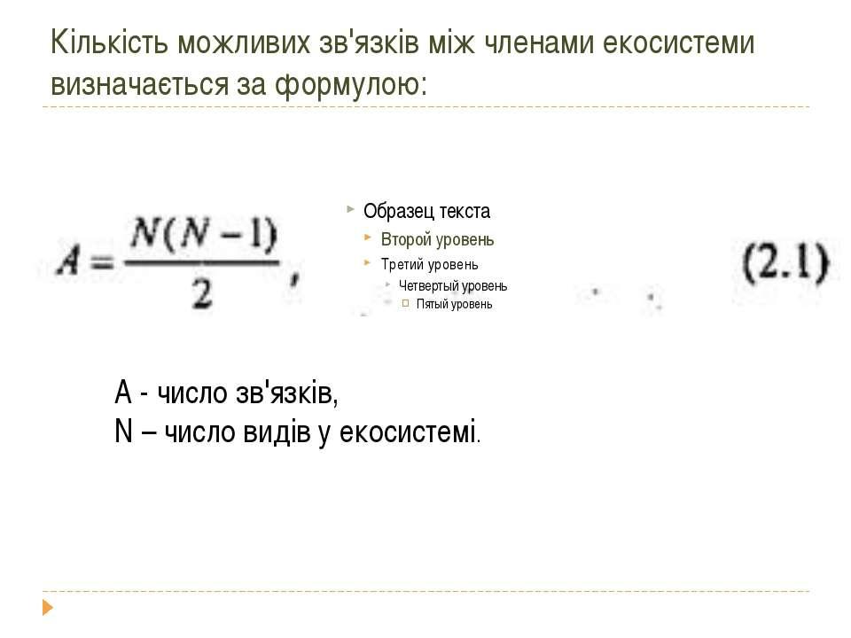 Кількість можливих зв'язків між членами екосистеми визначається за формулою: ...