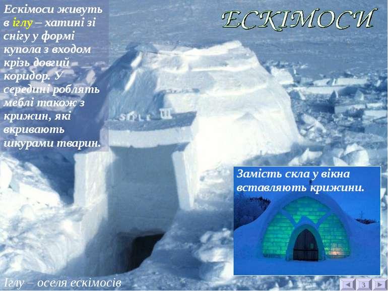 Іглу – оселя ескімосів 3 Ескімоси живуть в іглу – хатині зі снігу у формі куп...