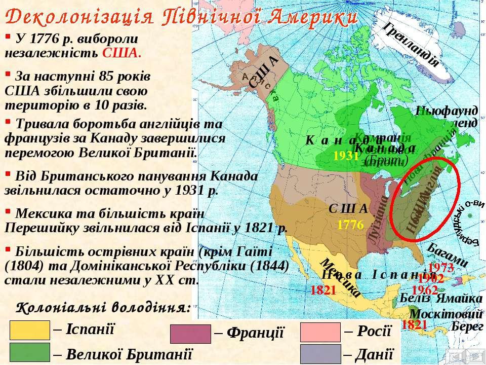 Колоніальні володіння: – Данії – Іспанії – Великої Британії – Росії – Франції...