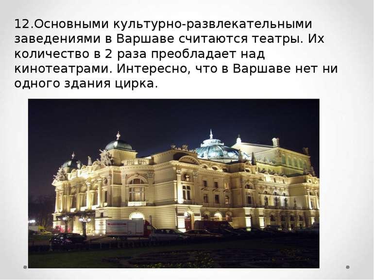 12.Основными культурно-развлекательными заведениями в Варшаве считаются театр...
