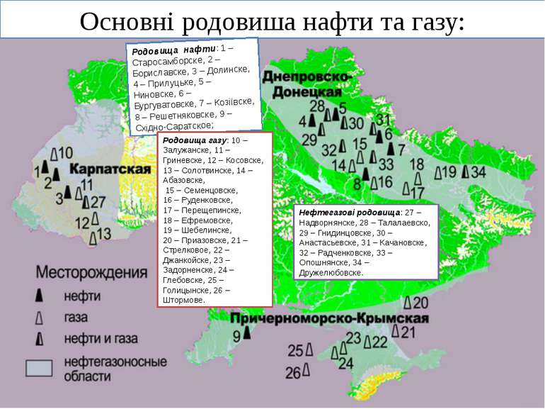 Основні родовиша нафти та газу: Родовища нафти: 1 – Старосамборске, 2 – Борис...