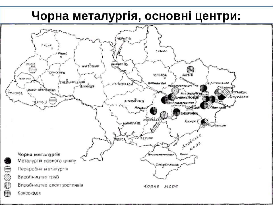 Чорна металургія, основні центри: