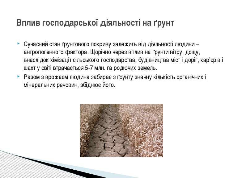 Сучасний стан ґрунтового покриву залежить від діяльності людини – антропогенн...
